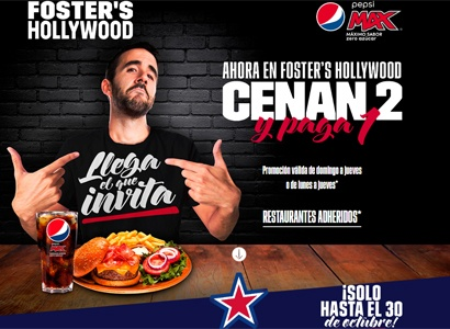 Cenan 2 y paga 1 en Foster Hollywood