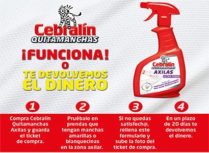 ▷ Muestra gratuita – Reembolso de un envases de Cebralín Quitamanchas Axilas