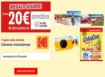Regalo Seguro de 20 euros de descuento en Smartbox y Sorteo de una cámara fotográfica instantánea
